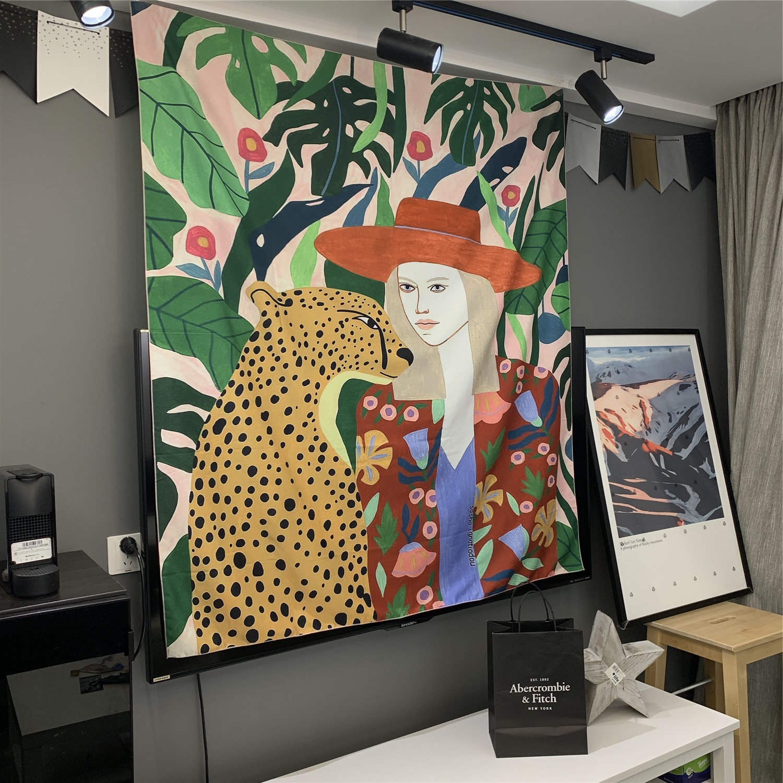 Bowler Girl Tapestry Wall Hanging Bohemian Beach Mat Polyester Blanket Yoga Mat Home Bedroom Art Carpet