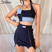 Nibber conjunto sem mangas e mini bodycon, conjunto de duas peças skinny para mulheres, com trabalho de retalhos, moda feminina, sensual, top crop e mini bodycon