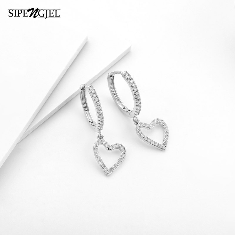 Fashion Cubic Zircon Gold Silver Color Heart Hoop Earrings Korean Heart Dangle Earings For Girls Fashion Bamboo Jewelry 2020