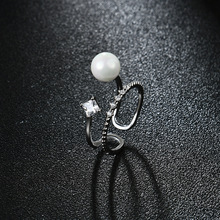 NJ2019 New Trendy Pearl Jewelry Luxury RingsReal Natural Freshwater Adjustable Ring For Mother Gift