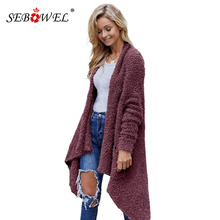 SEBOWEL Woman Knitted Oversized Baggy Long Sweaters Cardigan Coat Pockets Female Open Front High-Low Sweater Winter Warm Clothes high low hooded open front coat