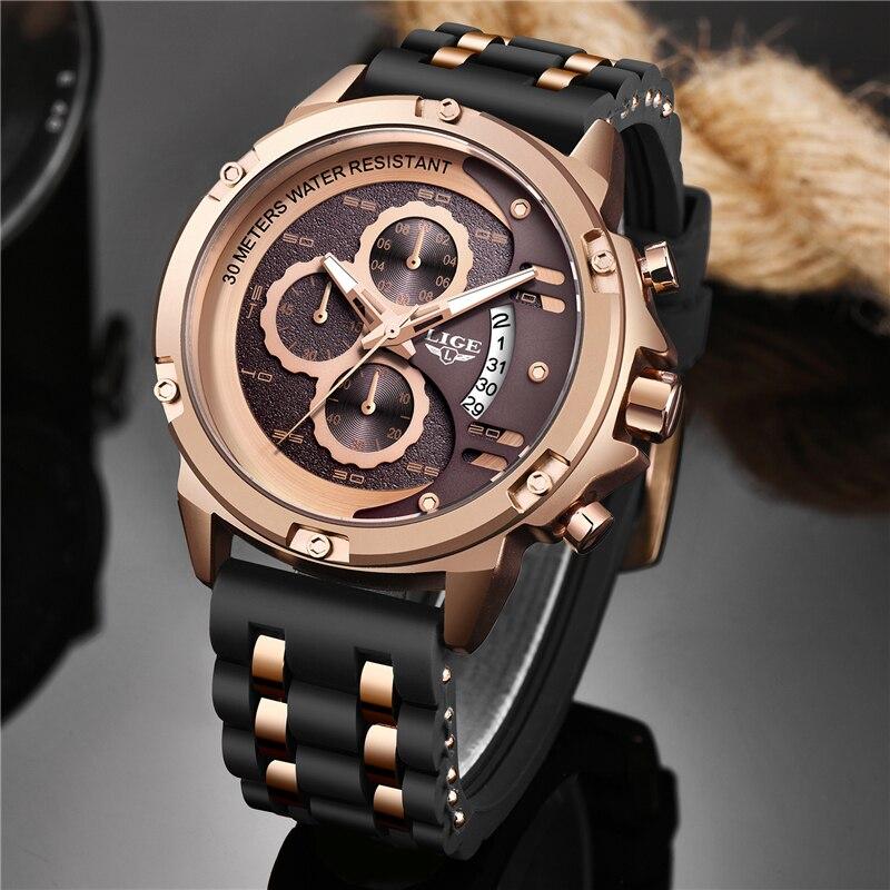 LIGE 2020 New Military Watches Mens Top Band Luxury Waterproof Quartz Wristwatch Chronograph Clock Male Fashion Sport Wristwatch