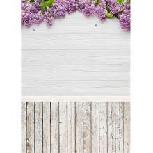 Fleurs violettes blanc planche de bois photographie décors Studio Photocall fond pour enfants bébé Portrait saint valentin