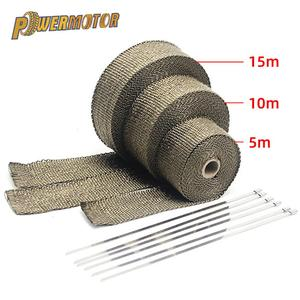 5/10/15/20M Motorcycle Exhaust Thermal Tape Exhaust Heat Tape Wrap Manifold Insulation Roll Resistant with Stainless Ties(China)