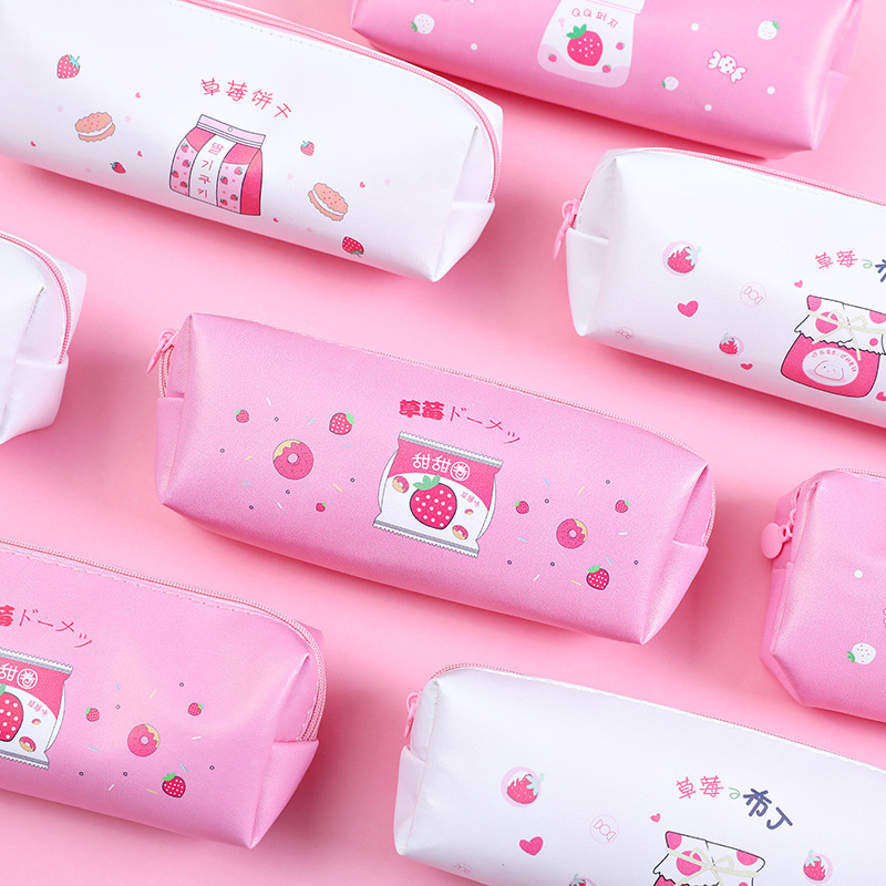 Cute Strawberry Biscuit Pudding Large Capacity Waterproof Portable Pencil Bag Pouch Pencil Case Stationery Zippered Bag