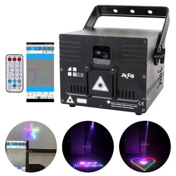 1W RGB DMX Laser ILDA Bluetooth Phone APP Edit Animation Projector Music Light Pro DJ Party Stage Effect Lighting Scanner Remote original ishow3 0 ethernet stage laser light software 64 bit and usb to ilda box