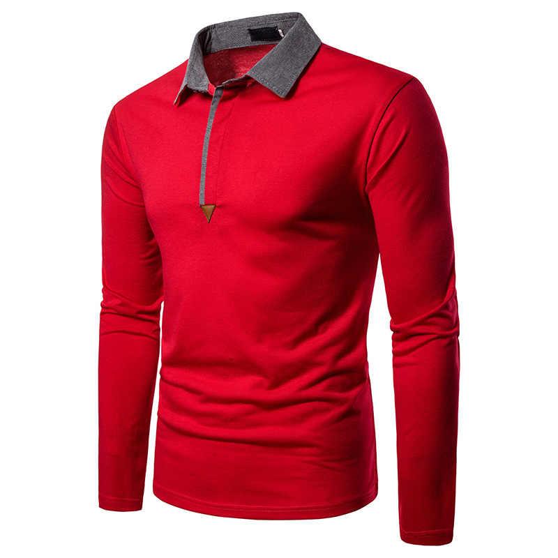 Модные красные Для мужчин, мужская рубашка поло, 2019 Фирменная новинка, длинный рукав, из кусков, мужские поло платье для гольфа Повседневное Slim Fit работы, мужская одежда