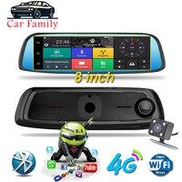 8 4G ADAS Radar Android Car DVR Touch Dash Cam Car Rearview Mirror Dash Camera Dual Lens GPS Navigation Wifi Bluetooth