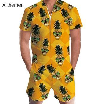 Allthemen moda męska kombinezony kombinezony hawajskie męskie 3D drukuj jednoczęściowy kombinezon z krótkim rękawem spodnie pajacyki kombinezony plażowe tanie i dobre opinie Plaża Szorty 3DSCB02LLD0 COTTON Poliester Zipper fly REGULAR Kieszenie