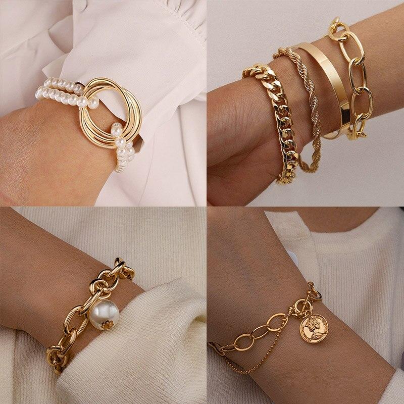 Bohemian Gold Beads Pearl Bracelets for Women Fashion Multilayer Beaded Chain Bracelets Set Charm Bracelet Bangles Jewelry Punk