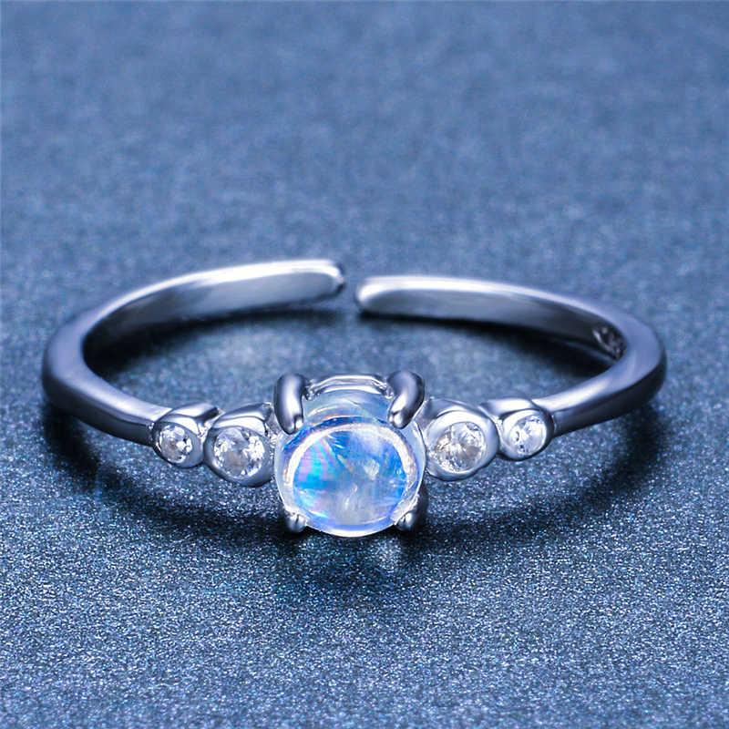 Bonito feminino pequeno redondo natural moonstone anel 100% real 925 prata esterlina anel ajustável promessa anéis de noivado para mulher