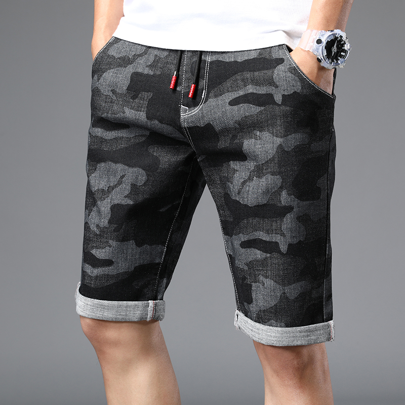 Men Jeans Pants Fashion Casual High Street Men's Personality Camouflage Printing Army Green Men's Shorts