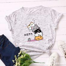 Camiseta de verão feminino plus size S-5XL algodão gráfico engraçado gatos impressão feminina manga curta simples tshirts casual moda topos t