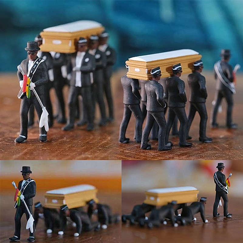 Cosplay Ghana Dancing Pallbearers Coffin Dance Figure Action Funeral Dancing Team Display Funny Accessories Model Toys For Boy