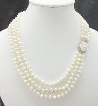 3 filas 6 7MM AAA, collar de perlas blancas naturales, señoras. Chica, collar de joyería para banquete 18 20 pulgadas