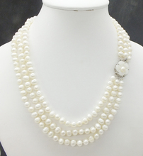 3 rows 6 7MM AAA, natural white pearl necklace, ladies. Girl, banquet jewelry necklace 18 20 inches