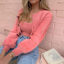 купить 2019 Autumn Women Elegant Two Pieces Suit Sets Female Winter Jacket & Top Warm Fluffy Long Sleeve Coats & Tank Top Sets по цене 1093.55 рублей