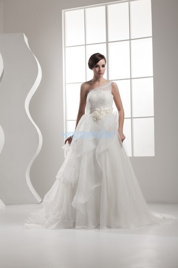 Free Shipping 2014 Design With Train Long Dress Good Quality Custom Size/color Ball Gown One Shoulder White/ivory Wedding Dress