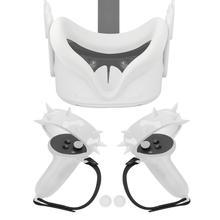 터치 컨트롤러 그립 커버 + 너클 스트랩 + VR 실리콘 페이스 커버 마스크 패드 + Oculus Quest 2 VR 액세서리 용 엄지 버튼 캡