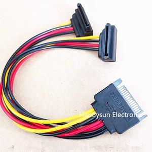 Image 1 - 10ชิ้น/ล็อตขายส่งSATA 15PinชายSATA Dual 2x15Pinหญิง90องศาSplitter Y 1ถึง2สำหรับHDD hard Disk Drive Cable