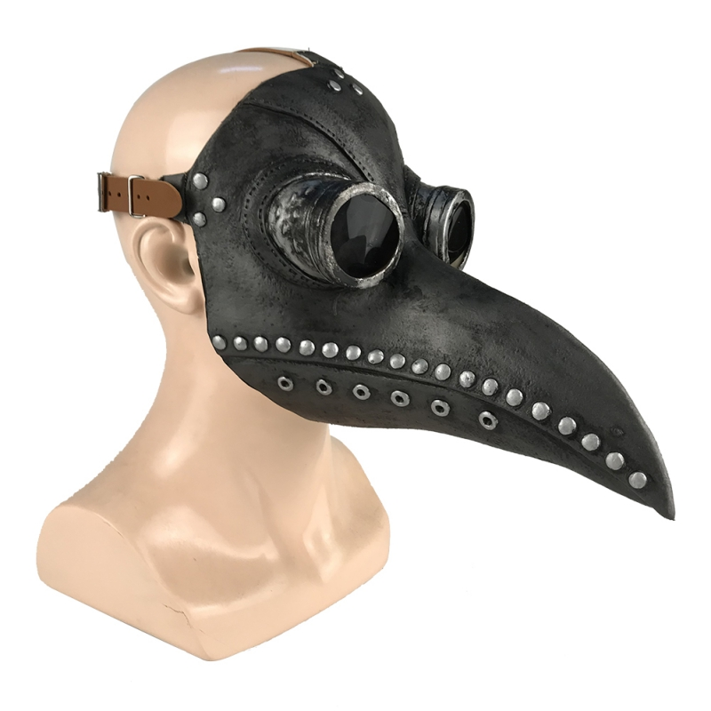 Image 2 - Halloween Plague Doctor Latex Mask Long Nose Beak Bird Crow Cosplay Steampunk Party Masks-in Party Masks from Home & Garden