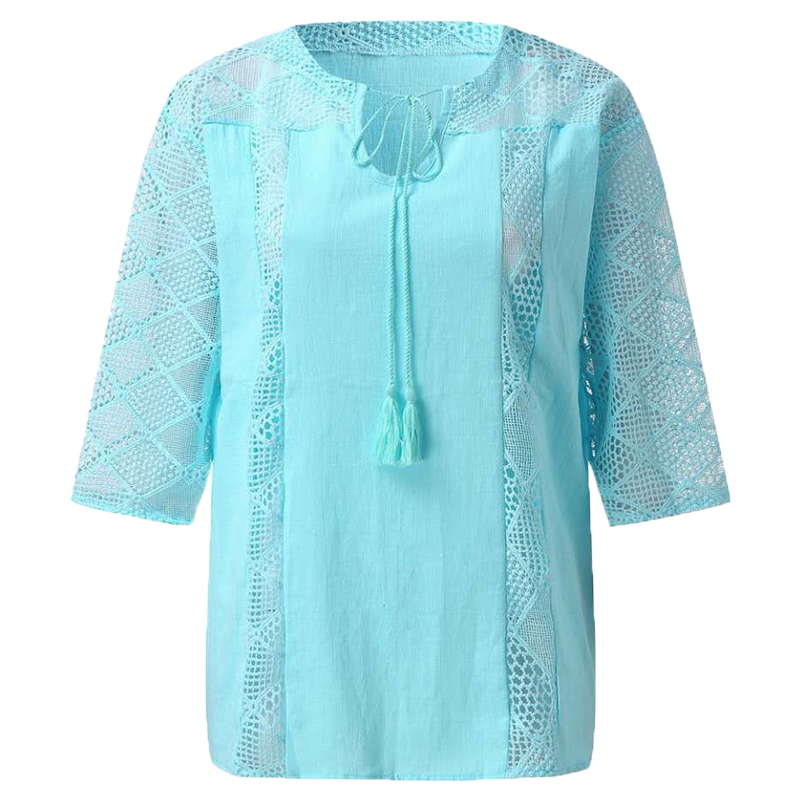 Cotton Blouse Women Shirt Lace Loose Large-Size Solid-Color 3/4-Sleeve O-Neck Leisure