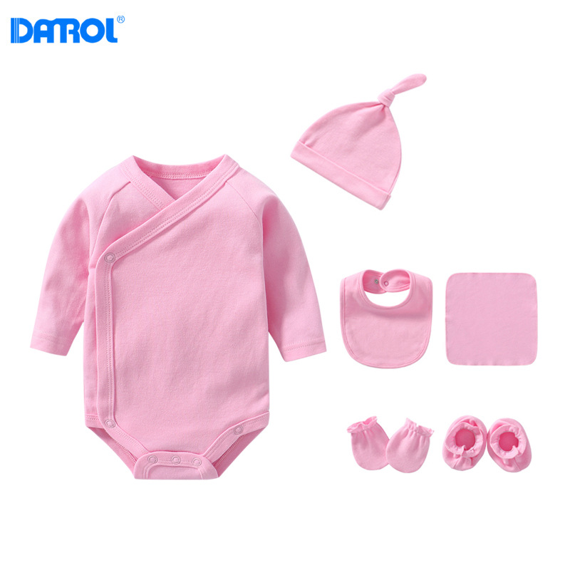 Newborns Monk Robe Triangle Romper Hat Bib Shou Jiao Tao Kerchief Combination Gift Box Collocation