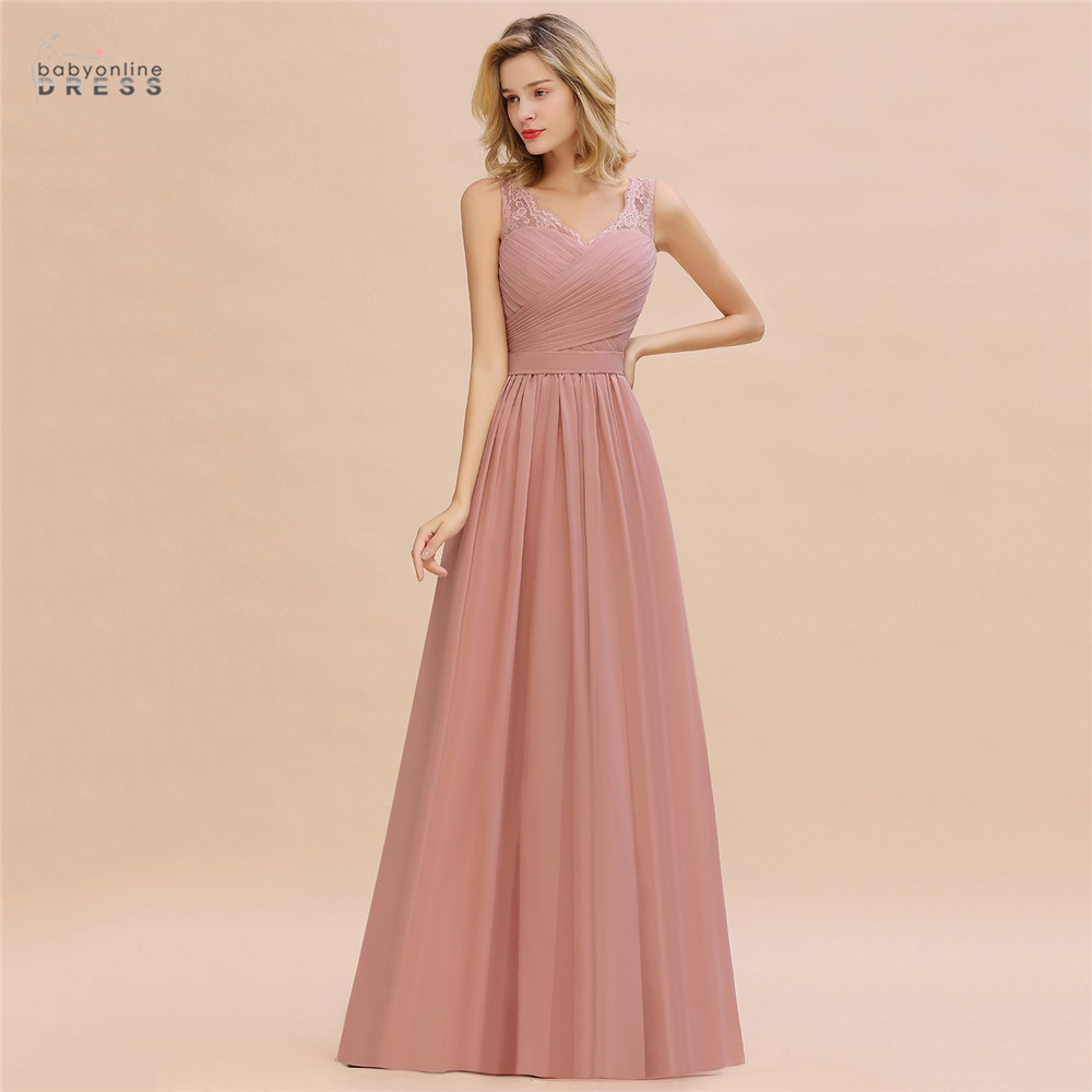 Dusty Rose Lace Long Evening Dress A-line Vestido De Festa Pleat V-neck Evening Prom Gowns Robe De Soiree Longue