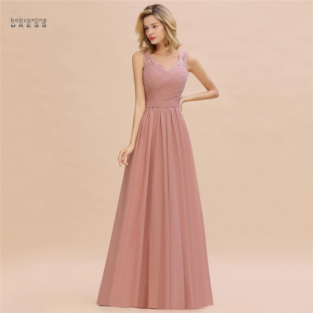Dusty Rose Lace Long Evening Dress A-line Vestido De Festa Pleat V-neck Evening Prom Gowns Robe De Soiree Longue