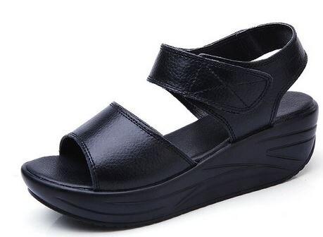YEELOCA 2020 Ladies Female Genuine Leather Shoes Sandals Woman Platform Hook Loop Casual  ZE002