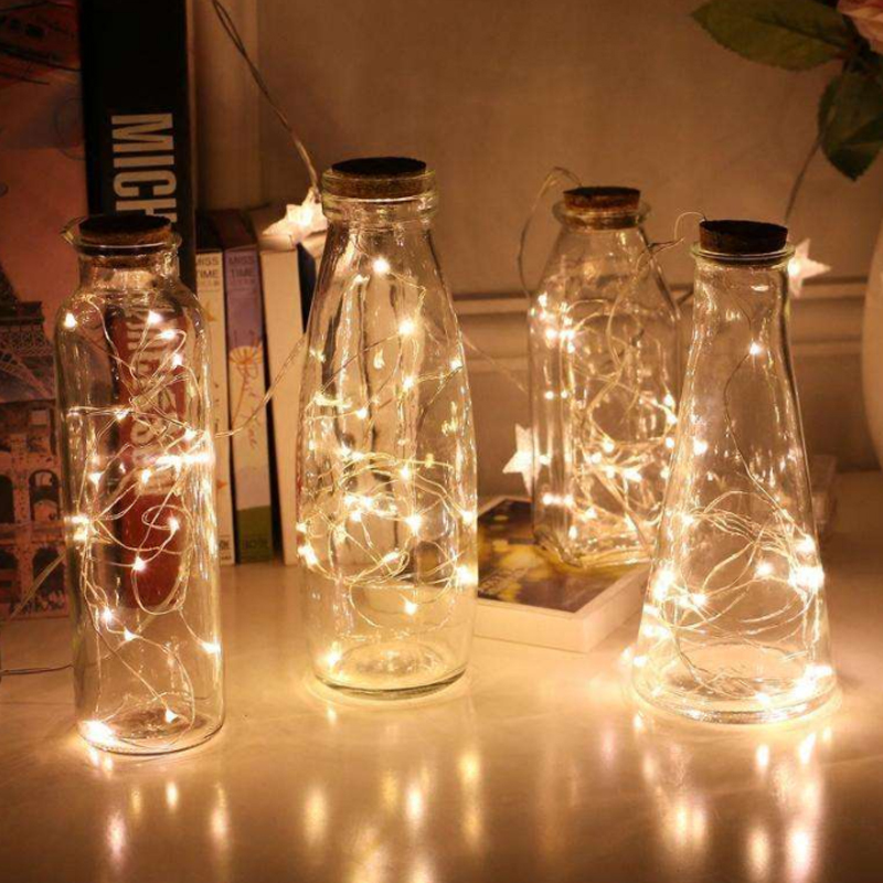 2M1M  LED Bottle Light String Battery Powered Waterproof Wine Bottle DIY Warm LED Cork Light Wedding Party Decoration