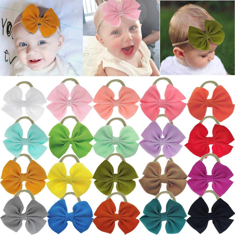 20 Pieces 4.5 Inch Nylon Super Stretchy Soft Bows Headbands, Newborn Infant Toddler Hairbands, And Baby Girl's Hair Accessories