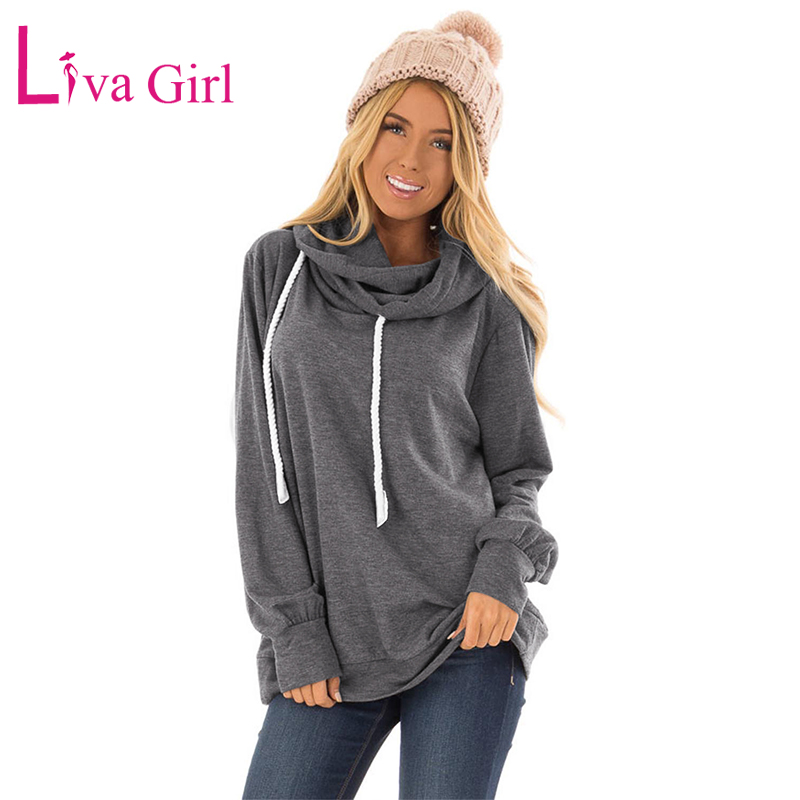 LIVA GIRL Casual Women Plus Size Hoodies Autumn Winter Ladies Long Sleeve Oversized Hoodie With Rope Drawstring Hooded Pullovers