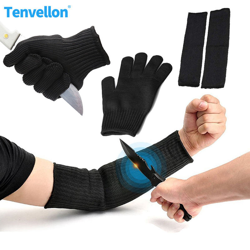 Anti Cut Gloves And Sleeve Guard Grade Level 5 Security Supplies Safety Gloves Arms Sleeve Work Safety Protection Tool