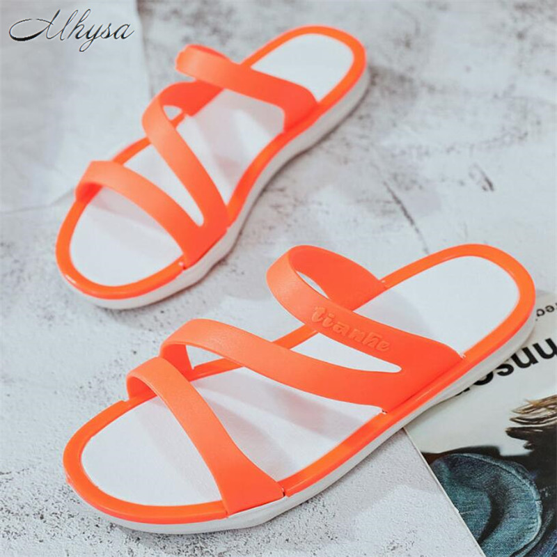 Mhysa 2020 Fashion Women Slippers Summer Slip On Women Sandals Shoes Casual Soft Leather Slippers Female Flats Flip Flops Shoes