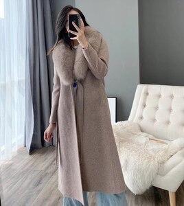Image 3 - OFTBUY 2020 kış ceket kadınlar gerçek kürk ceket doğal Fox kürk yaka kaşmir yün karışımları uzun giyim kemer bayanlar Streetwear