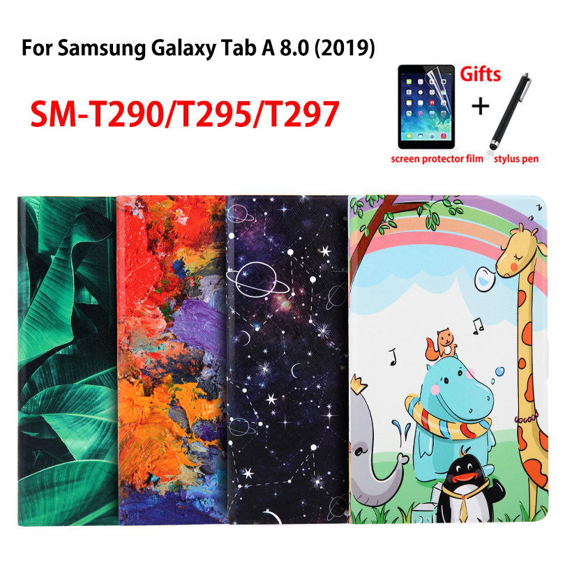 Slim-Case SM-T290 Samsung Funda-Tablet Painted-Stand T297-Cover Galaxy Fashion for Tab-A