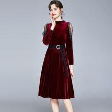 Zuoman женские зимние элегантные вельветовое платье festa высокого