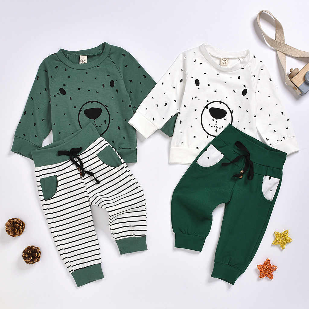 Autumn Hot Sale Baby Boys Bear Hoodie Trousers Outfit Cartoon Sweatshirt Tops+ Pants Outfits 2pcs Set Toddler Kids Boy Clothes