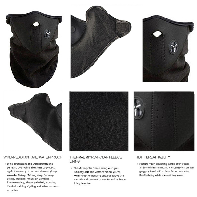 FENRIR Motorcycle Half Face Mask Cover Fleece Unisex Ski Snow Moto Cycling Warm Winter Neck Guard Scarf Warm Protecting Maske 4