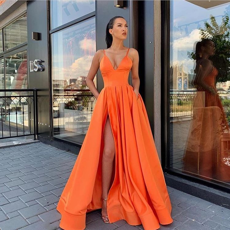 Fashion Orange Yellow Evening Dresses Long 2019 Spaghetti Straps V Neck High Slit Satin Women Formal Dress Party Gowns