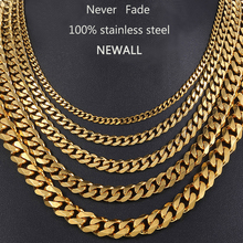 Newall Men Hiphop Necklace Chain Stainless Steel Silver Black Gold Male Women Curb Cuban Jewelry 3/5/7/9/11mm wholesale