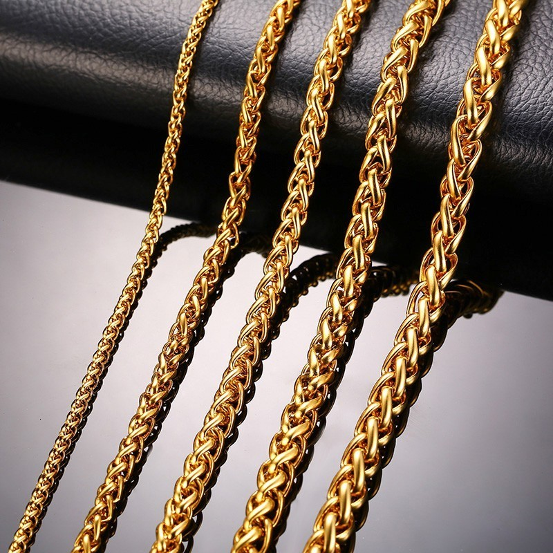 """7/""""-48/"""" 3mm  FIGARO ROPE STAINLESS STEEL GOLD//SILVER//BLACK CHAIN NECKLACE"""