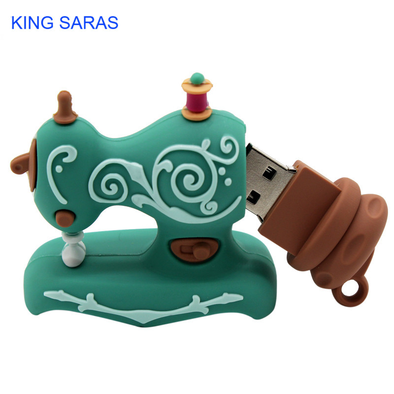Image 4 - KING SARAS cartoon Beautiful creative Sewing machine model usb2.0 4GB 8GB 16GB 32GB 64GB pen drive USB Flash Drive  Pendrive-in USB Flash Drives from Computer & Office
