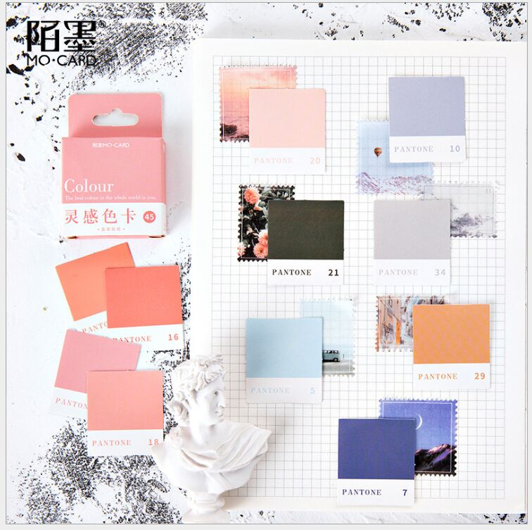 45Pcs/box Colour Aesthetics World Pantone Swatch Card  Index Stickers Decoration Planner Diary DIY Scrapbooking Stickers