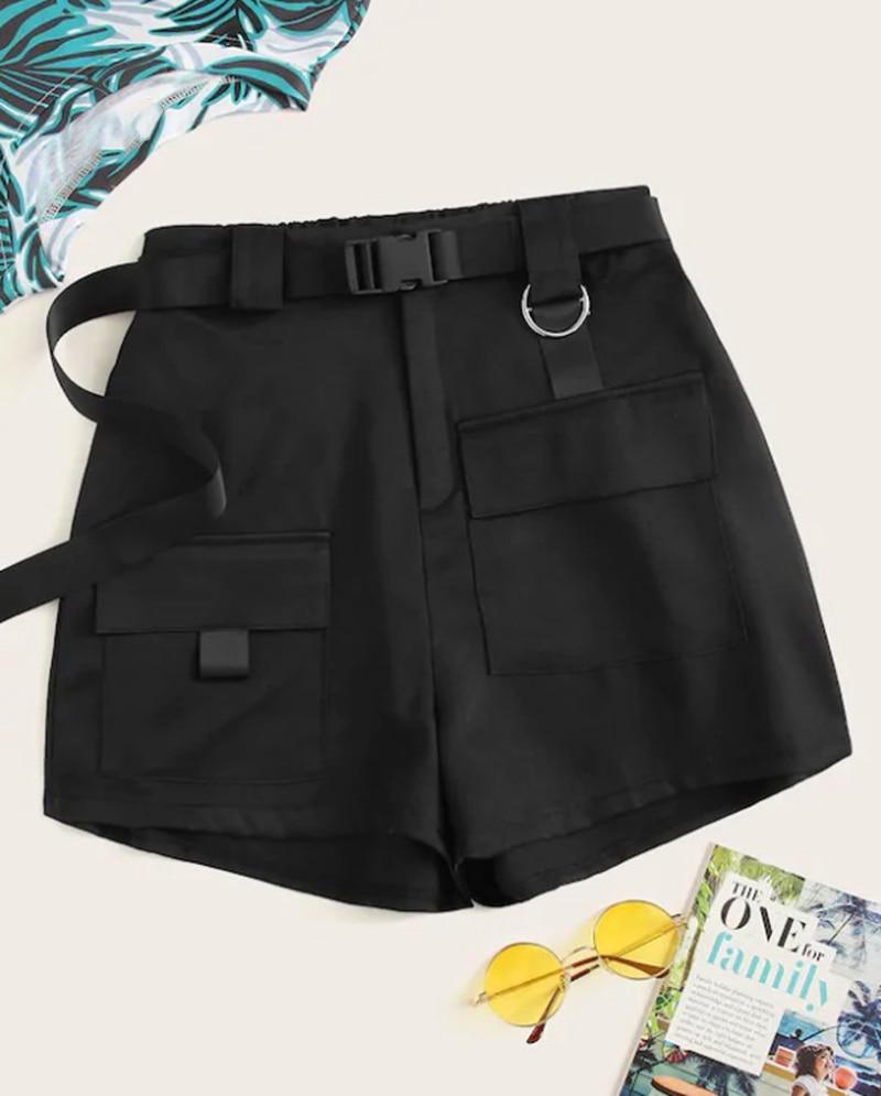 Pocket Solid Shorts Elastic Waist Women Casual Loose