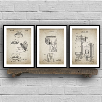Bathroom Patent Vintage Posters Prints ,Toilet Roll,Cistern,Lavatory Design,Loo Canvas Painting Blueprints Home Wall Art Decor image
