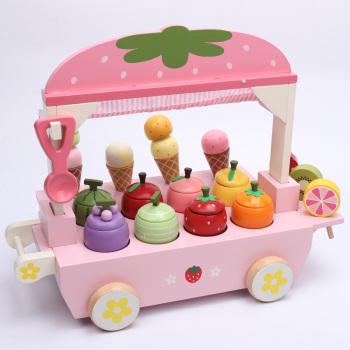 New 1 Set Wooden Toy Pretend Play Toy Simulation Magnetic Ice Cream Colourful Kitchen Food Baby Infant Toy Food Birthday Gift D2 new wooden toy wooden blocks kitchen toy ice cream and donuts soft cream baby toy free shipping