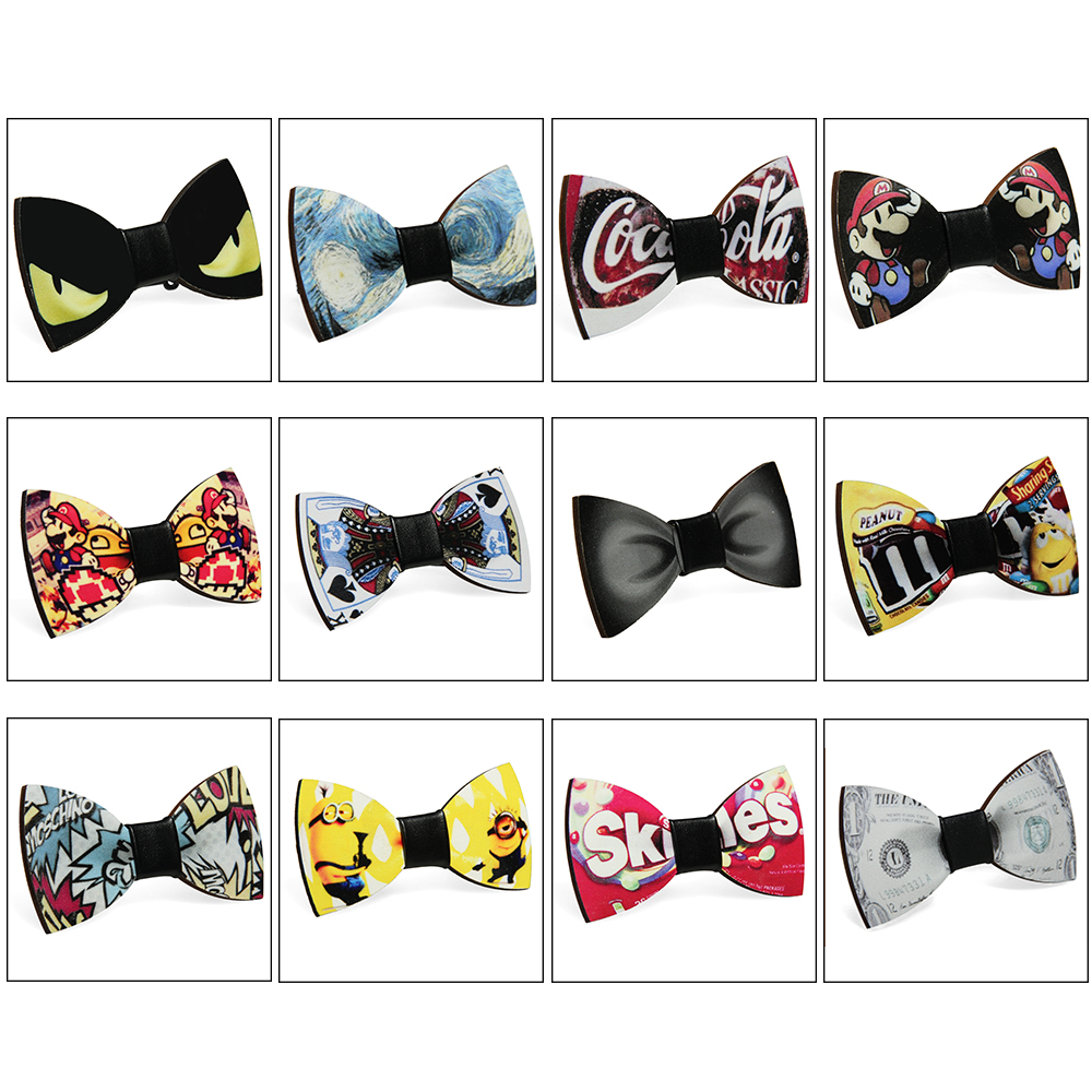 Fashion Wooden Bowtie Gentleman Bow Ties Handmade Creative Pattern Tie Party Bow Ties Butterfly Wooden Unique Tie for Man Woman image