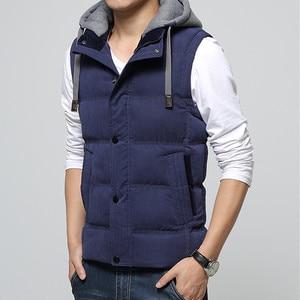 Image 3 - High Quality Men Casual Vest Winter Coat Hat Detachable Men Waistcoat Sleeveless Jacket Solid Outwear Vest Men 4 Colors